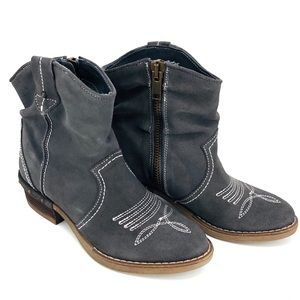 Sundance Etta Gray Ankle Western Booties Size 38